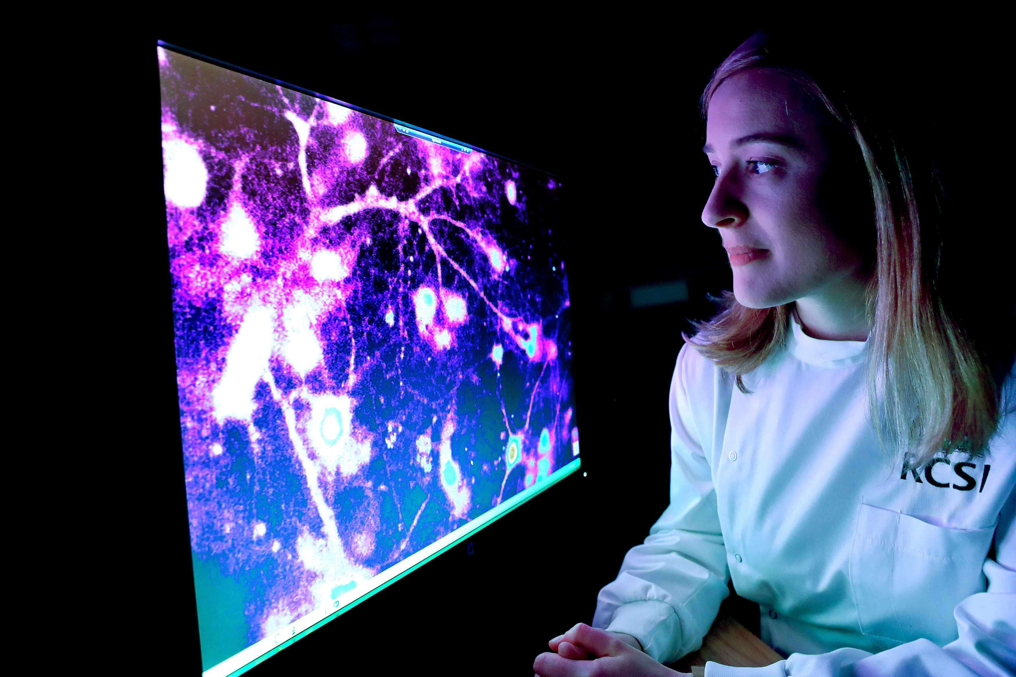Dr Marion Hogg looking at brain cells on a compuer screen