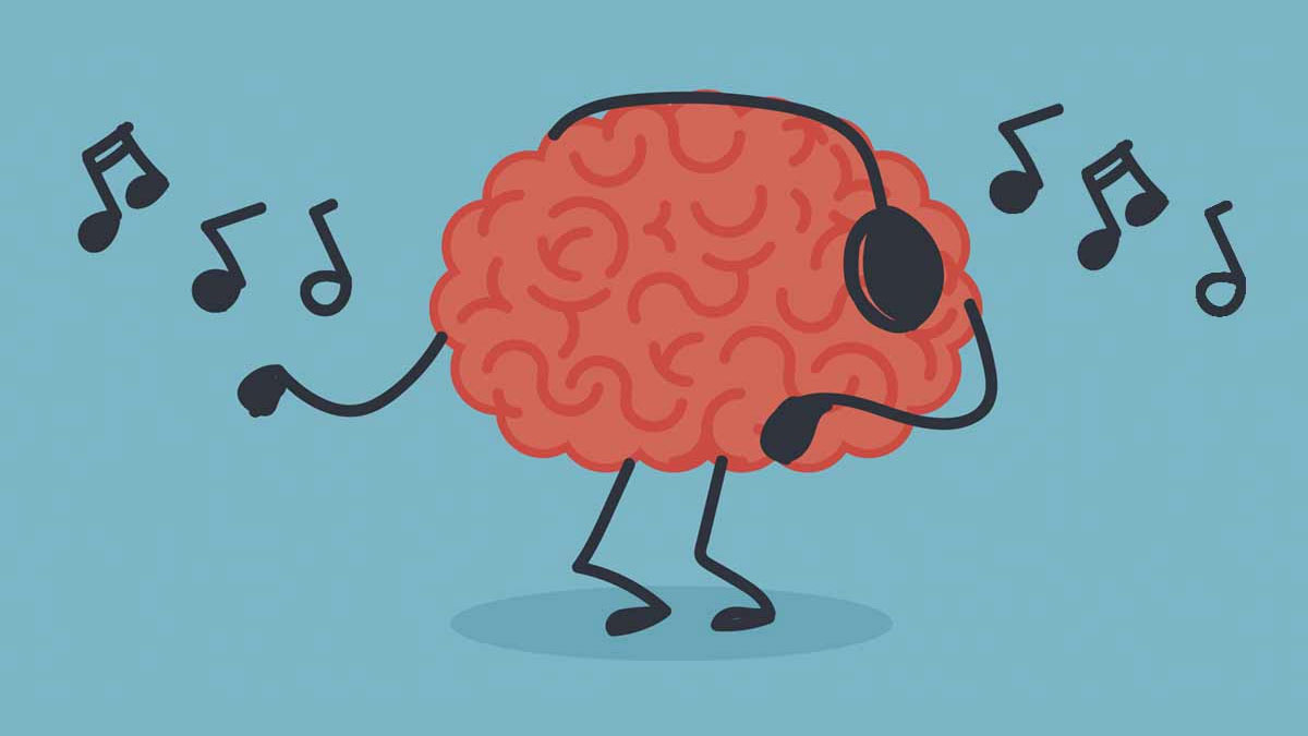 Image of a cartoon brain dancing while listening to music through headphones